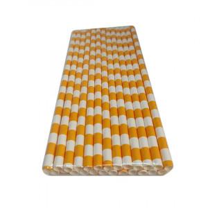 Трубочка бумажная 19,7 см (25 шт) д6 мм бело-оранжевая KN-6-197
