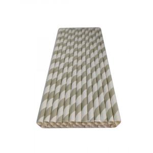 Трубочка бумажная 19,7 см (25 шт) д6 мм бело-серая KN-6-197