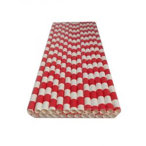 Трубочка бумажная 19,7 см (25 шт) д6 мм бело-красная KN-6-197