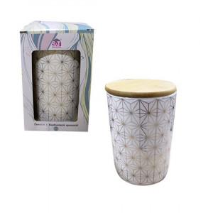 Емкость для сыпучих 0.9 л Абстракт керамическая с бамбуковой крышкой 2244-00-02