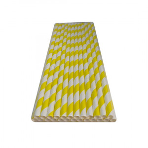 Трубочка бумажная 19,7 см (25 шт) д6 мм бело-желтая KN-6-197