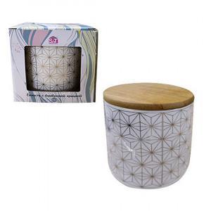 Емкость для сыпучих 0.5 л Абстракт керамическая с бамбуковой крышкой 2244-00-01