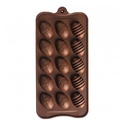 Форма силиконовая для конфет 1/15 Шоколад яйцо Н-1278