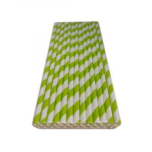 Трубочка бумажная 19,7 см (25 шт) д6 мм бело-салатовая KN-6-197